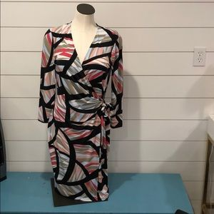Anne Klein multicolored long sleeve wrap dress